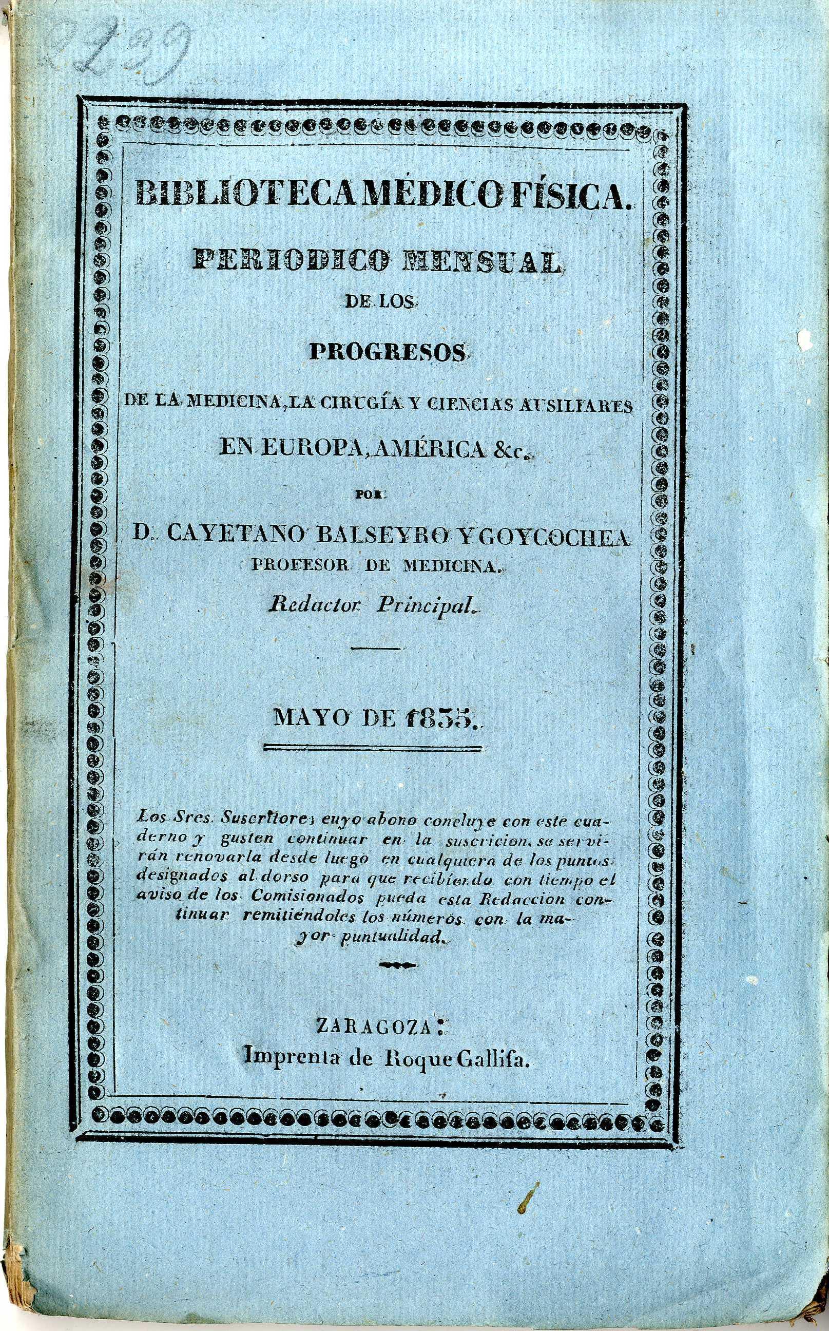 Biblioteca médico-física, mayo,  (1835)