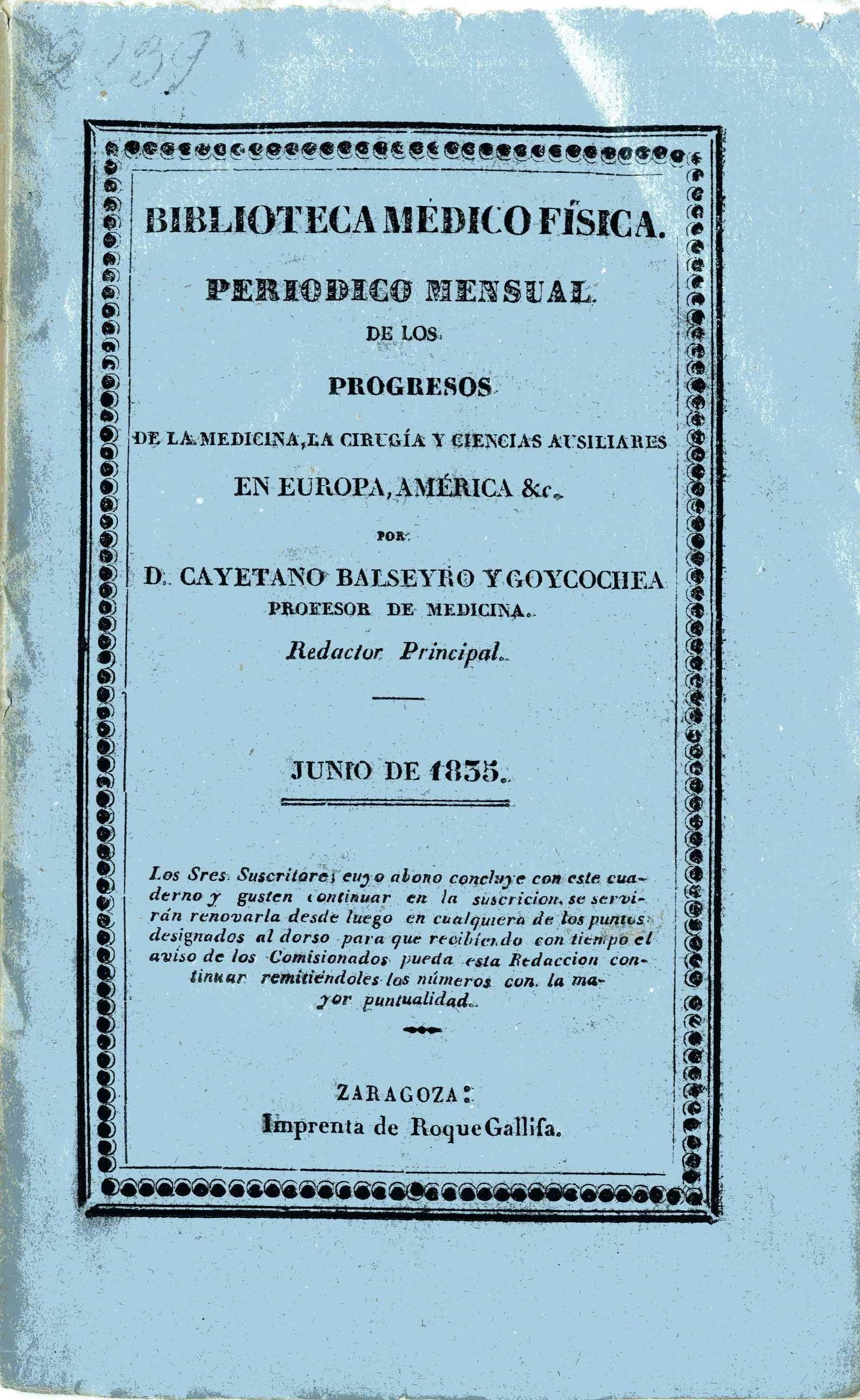 Biblioteca médico-física, junio,  (1835)
