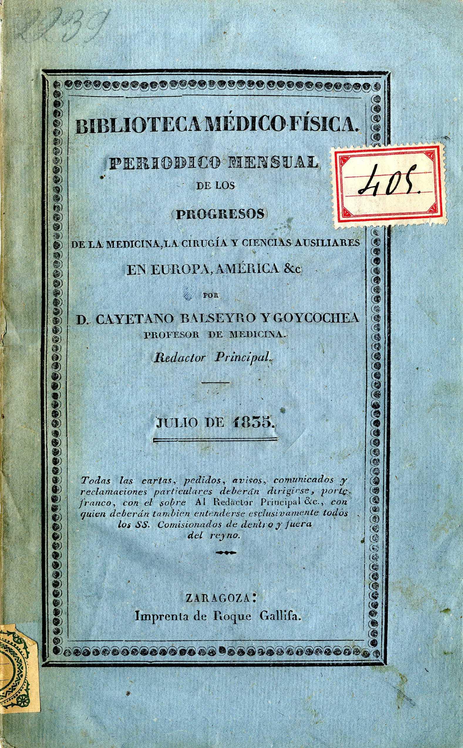 Biblioteca médico-física, julio,  (1835)