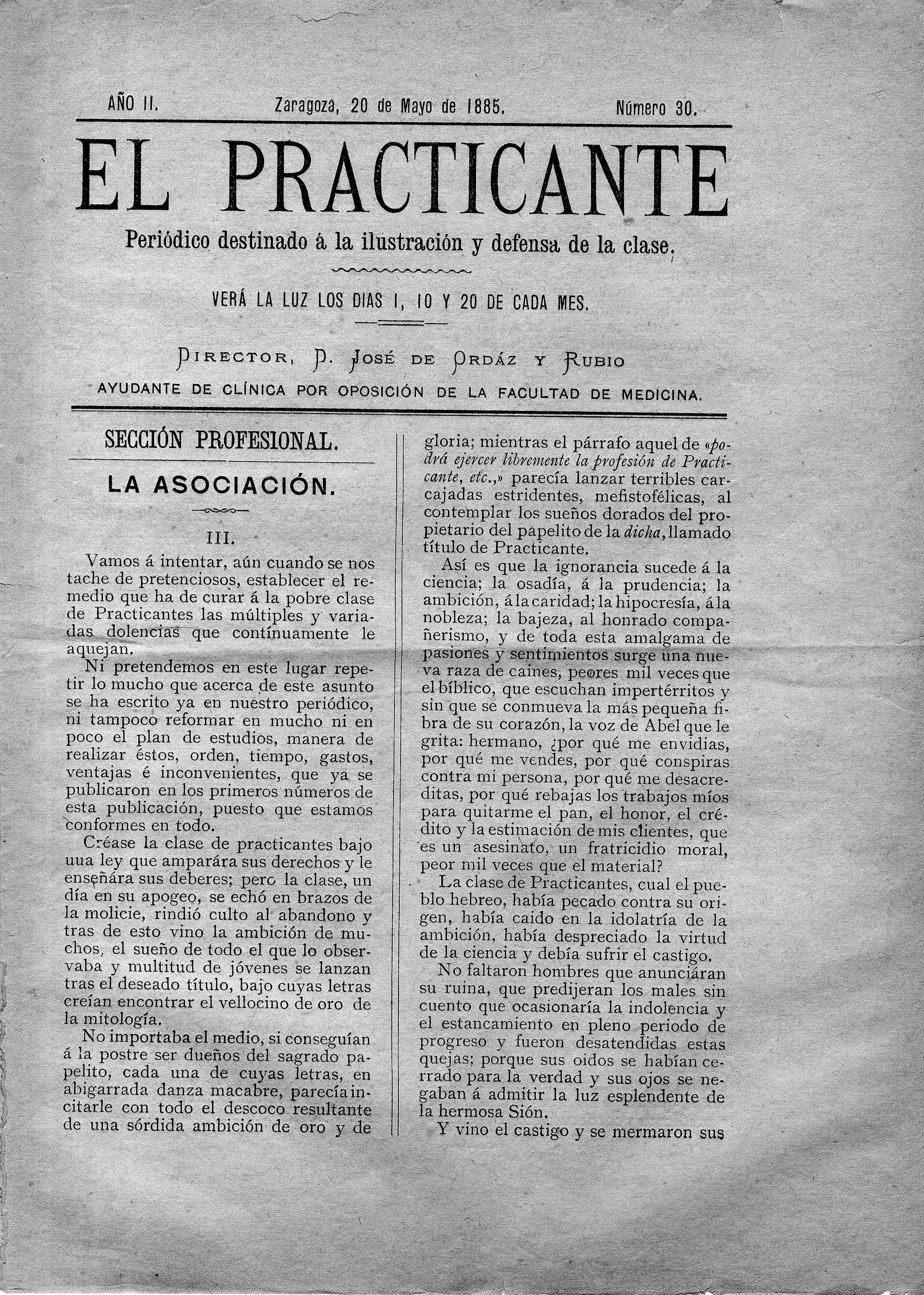 El Practicante, Año II, n. 30, (1885)