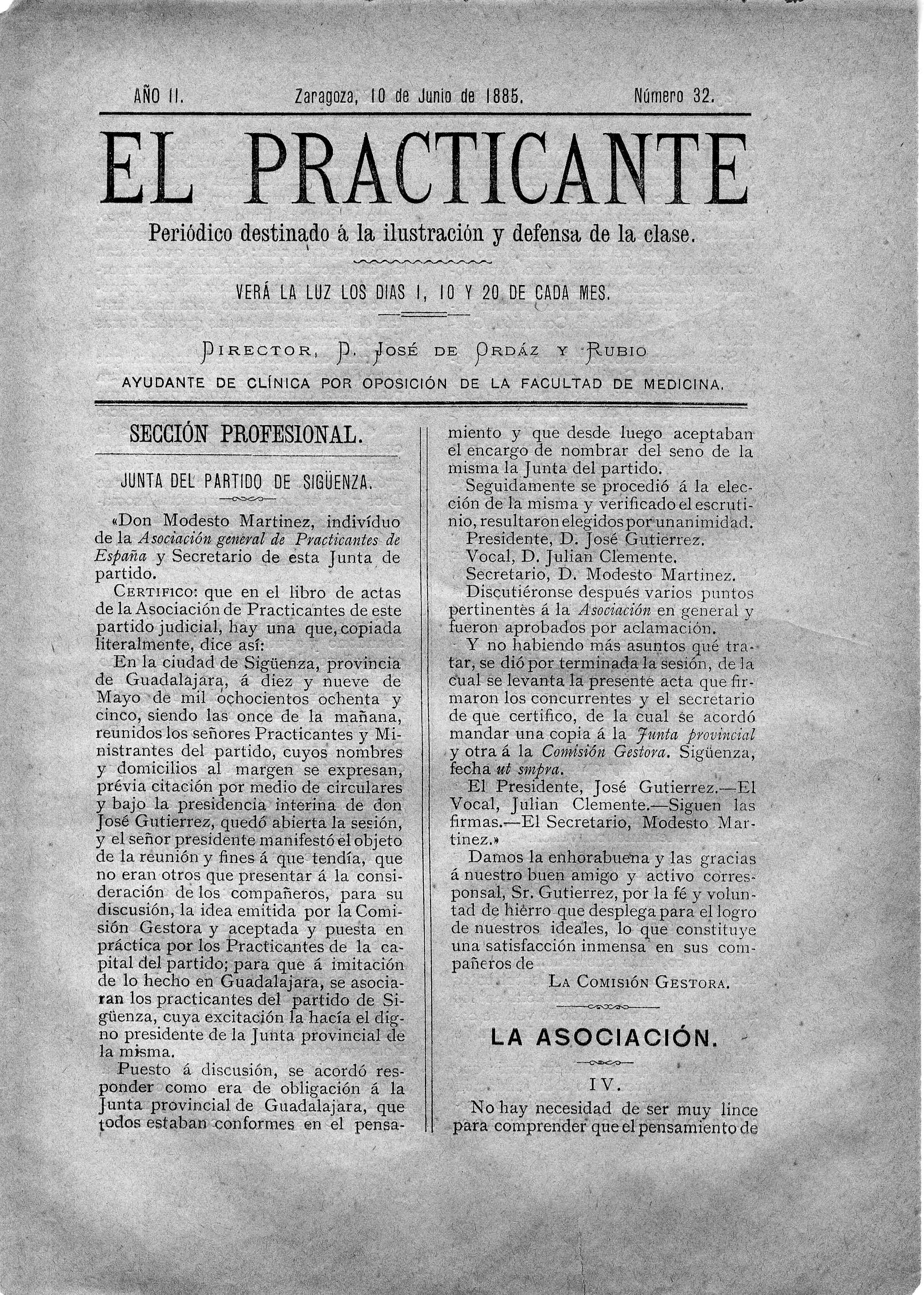 El Practicante, Año II, n. 32, (1885)