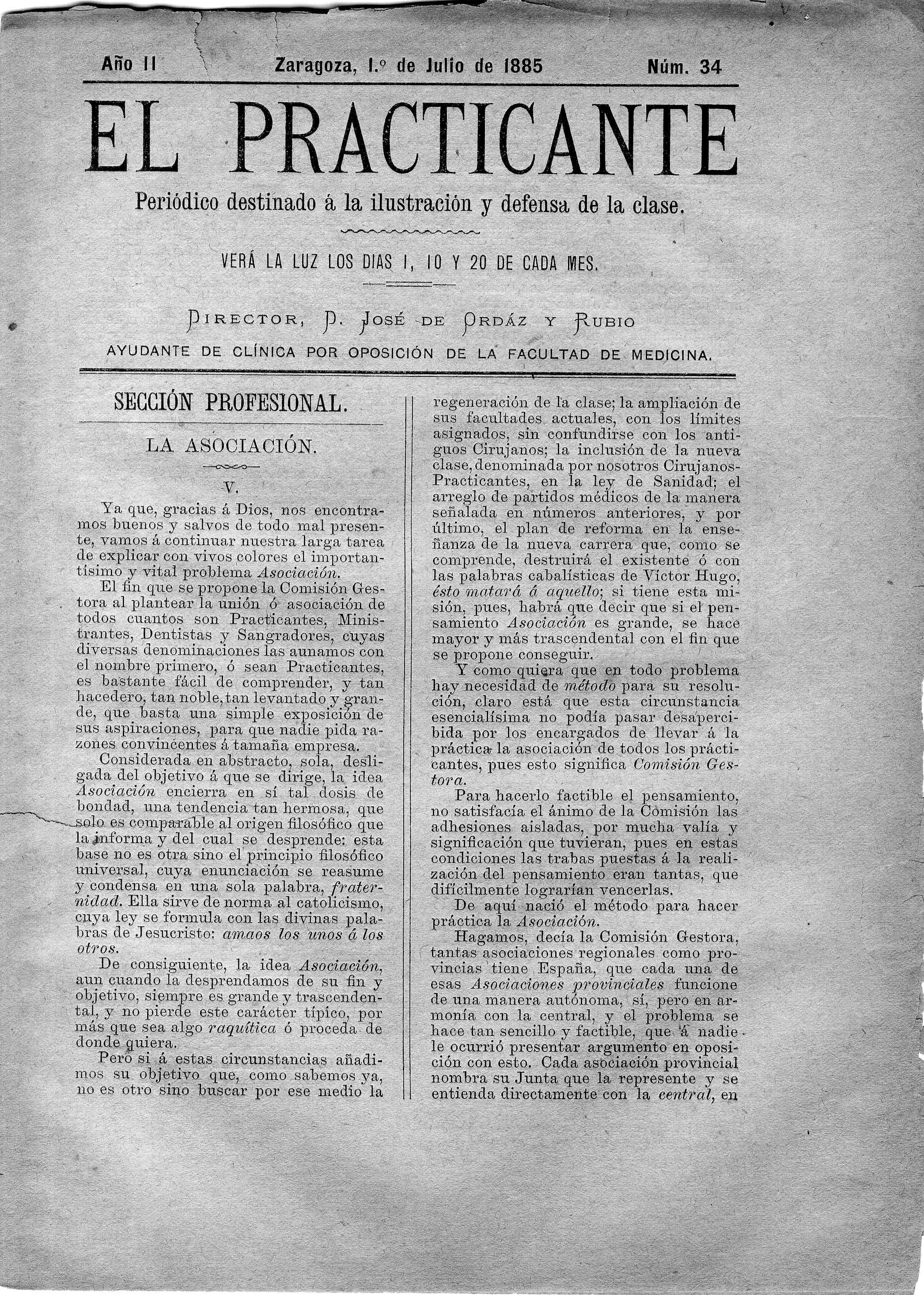 El Practicante, Año II, n. 34, (1885)