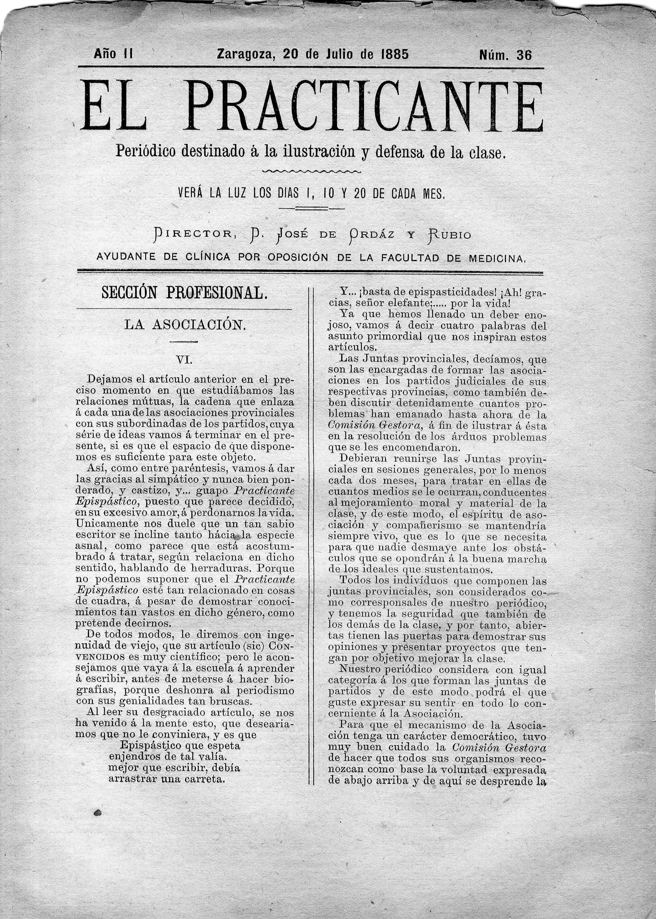 El Practicante, Año II, n. 36, (1885)