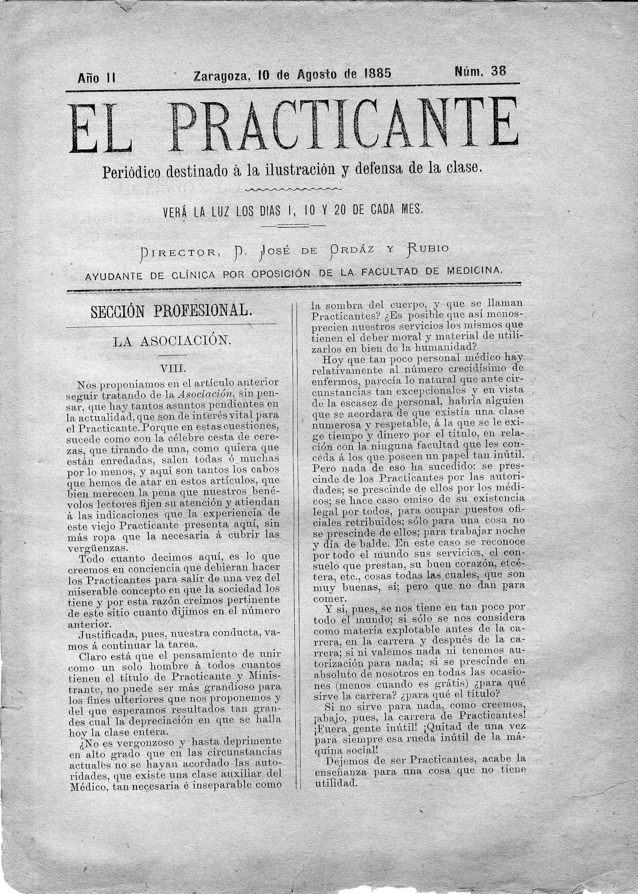El Practicante, Año II, n. 38, (1885)