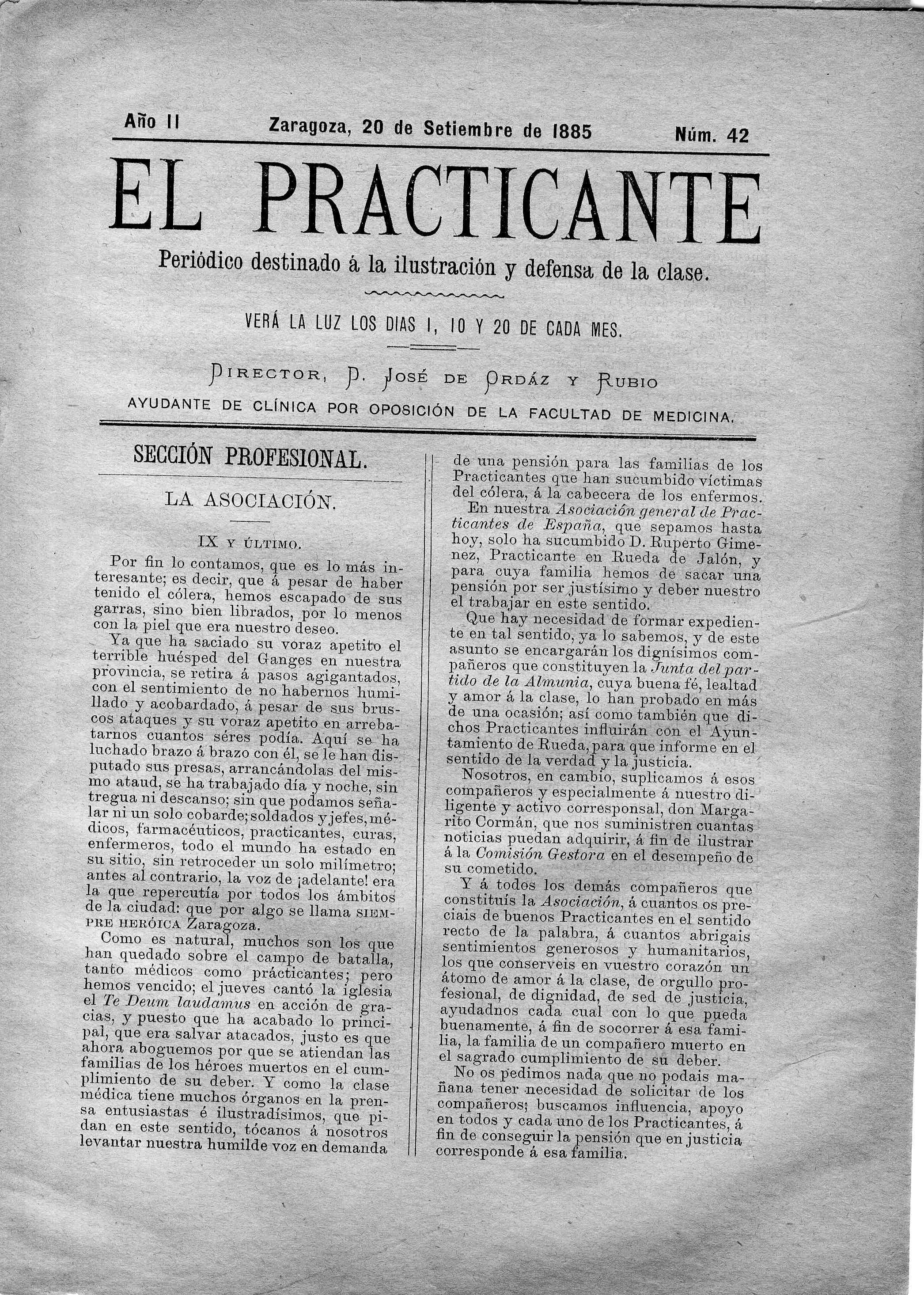 El Practicante, Año II, n. 42, (1885)