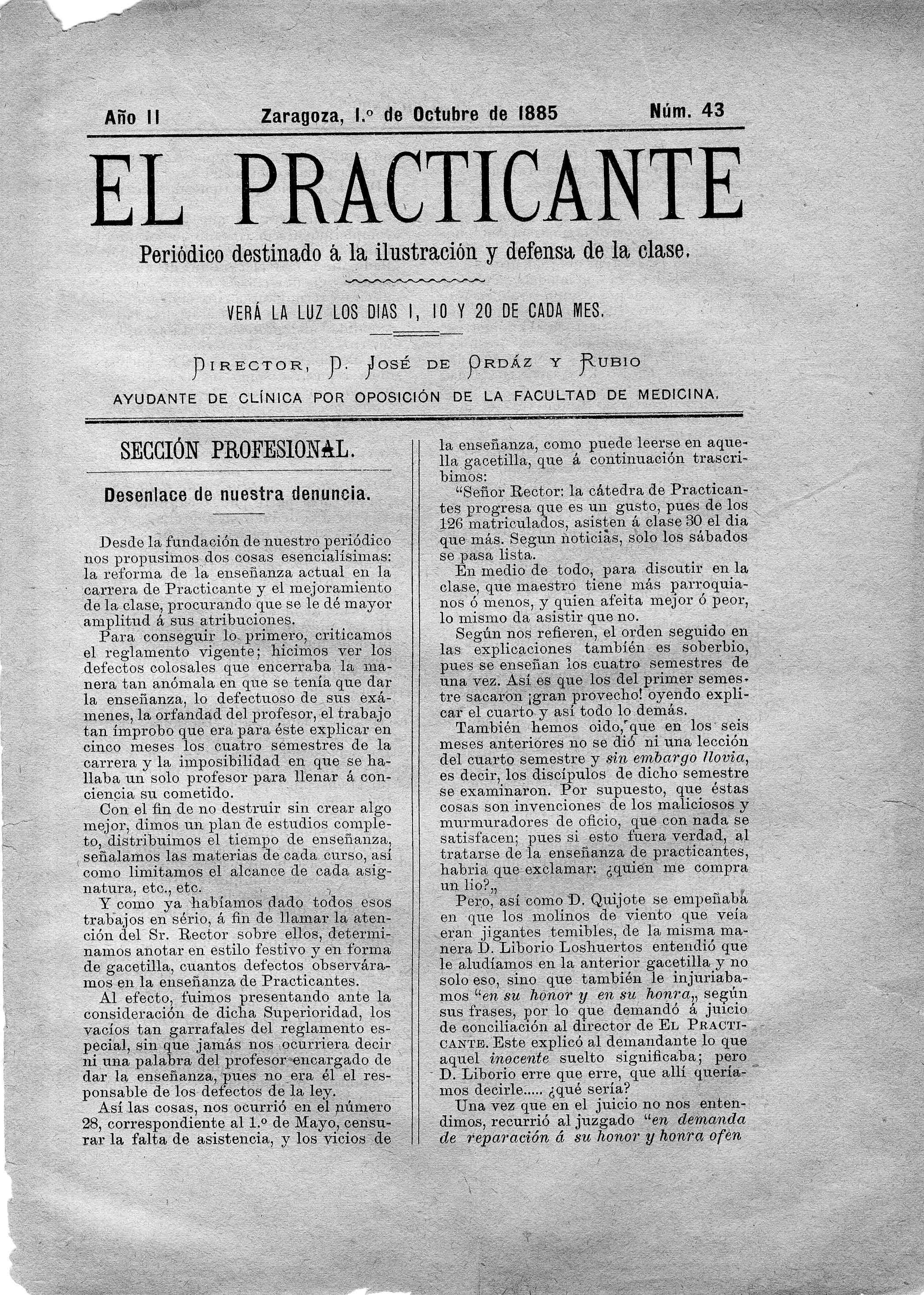 El Practicante, Año II, n. 43, (1885)