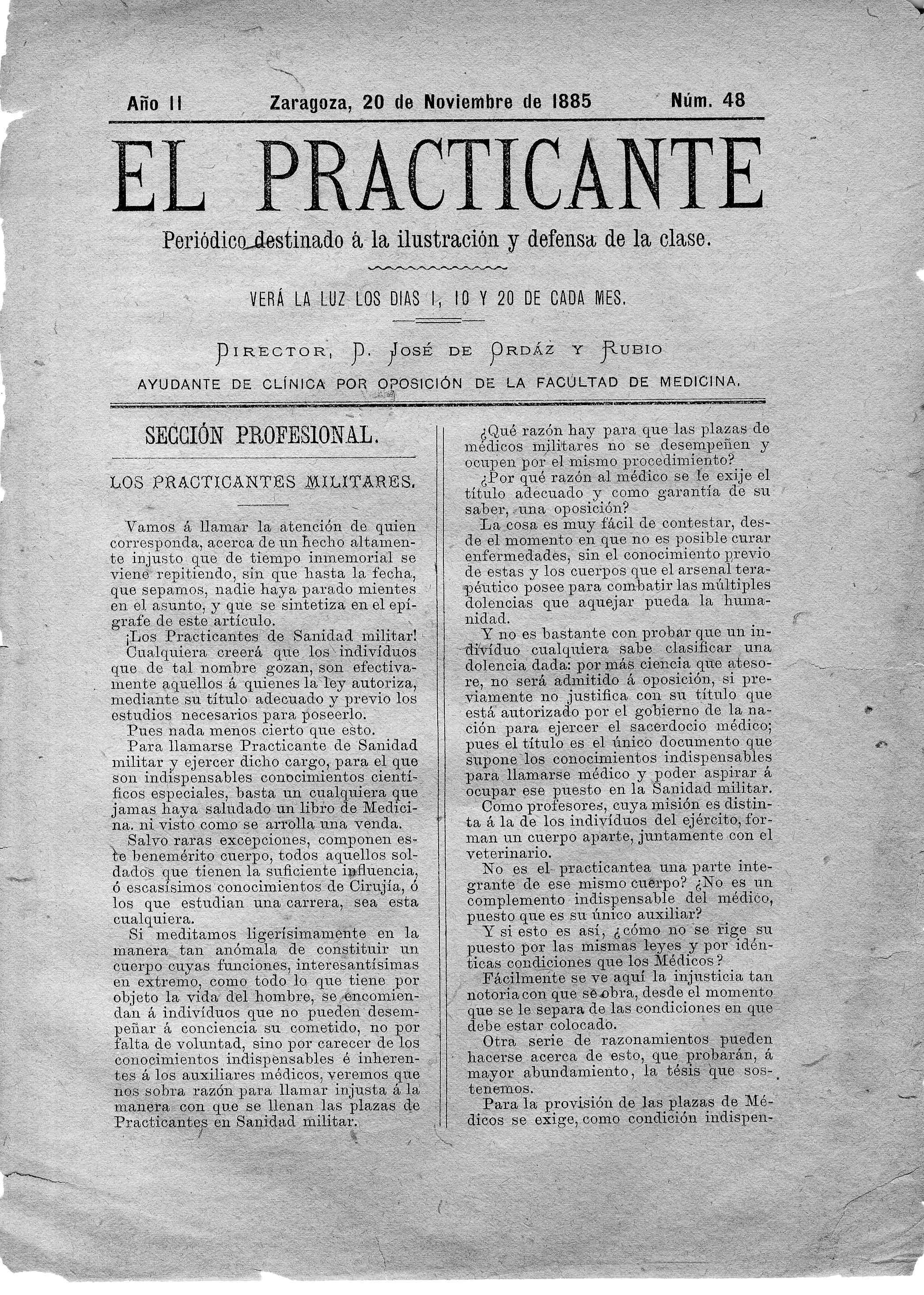 El Practicante, Año II, n. 48, (1885)