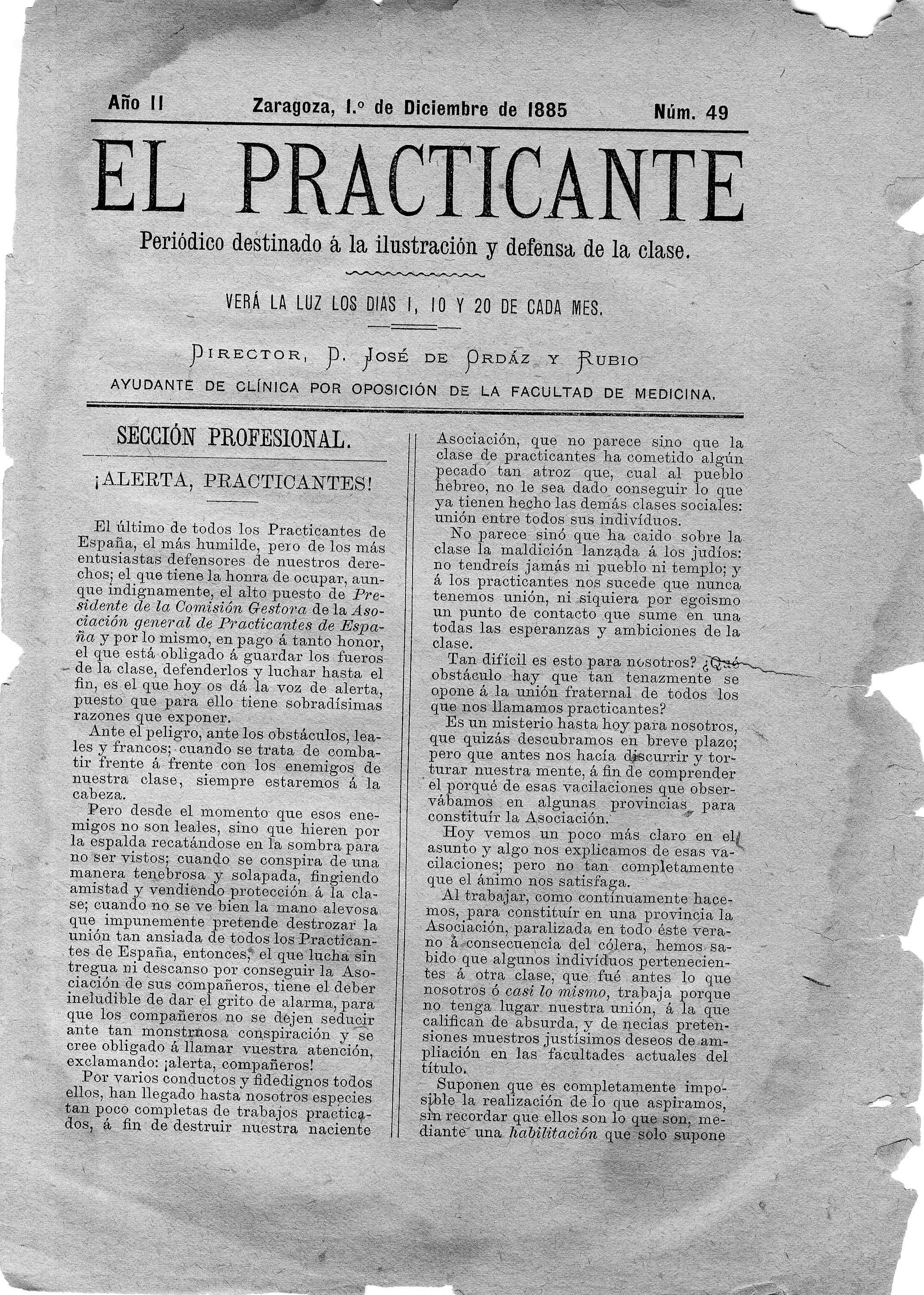 El Practicante, Año II, n. 49, (1885)