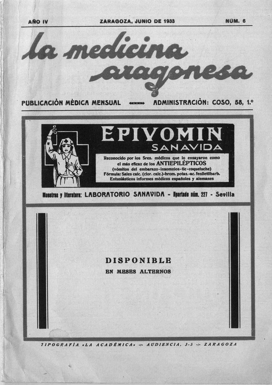 La medicina aragonesa, 2ª ép., Año 4, n. 6, (1933)