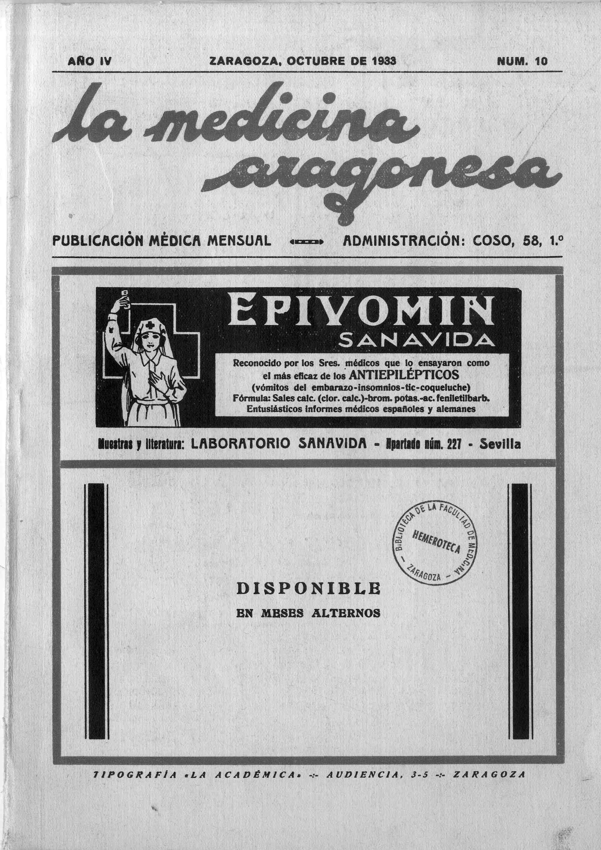 La medicina aragonesa, 2ª ép., Año 4, n. 10, (1933)