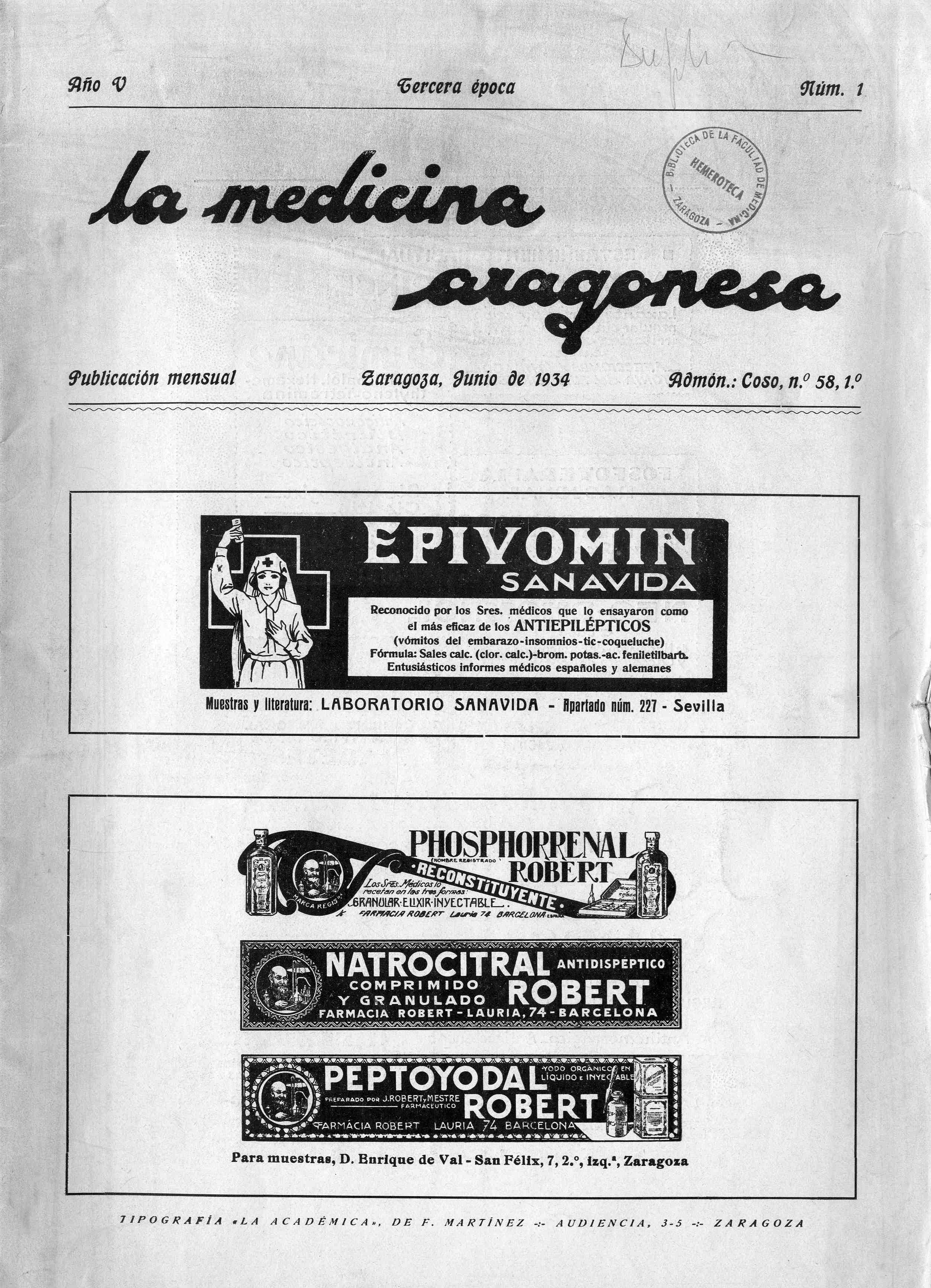 La medicina aragonesa, 3ª ép., Año 5, n. 1, (1934)