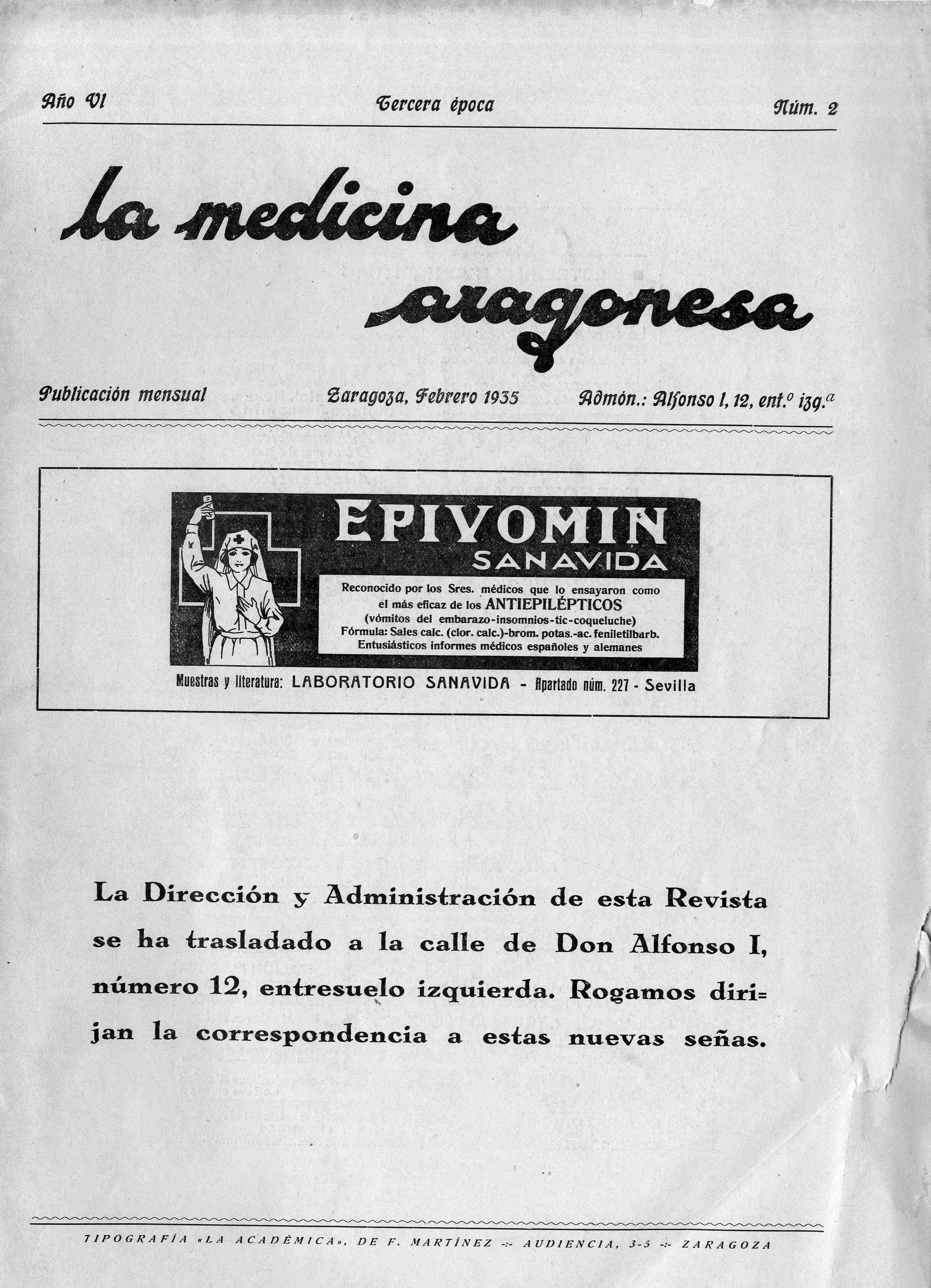 La medicina aragonesa, 3ª ép., Año  6, n. 2, (1935)