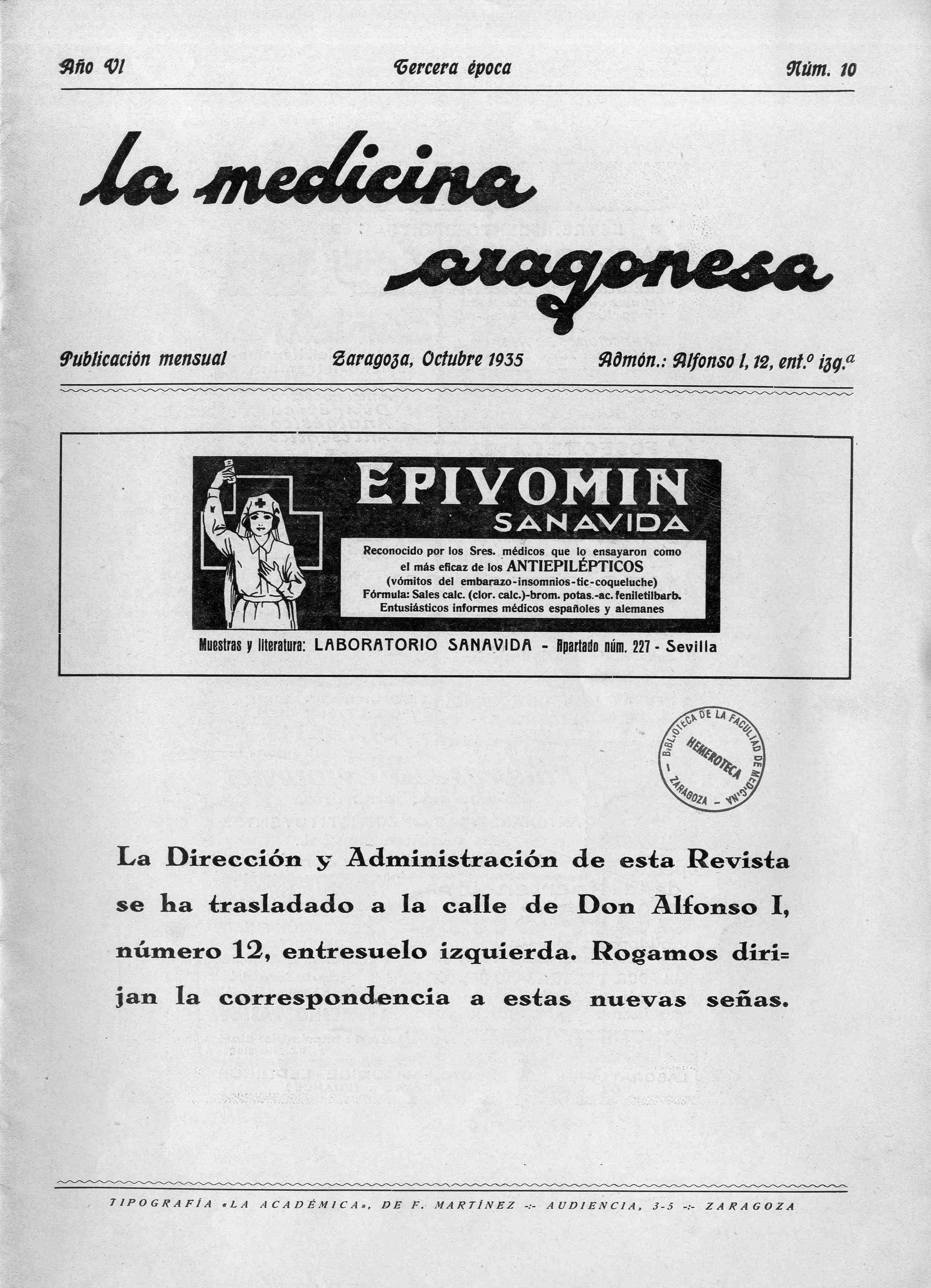 La medicina aragonesa, 3ª ép., Año  6, n. 10 , (1935)