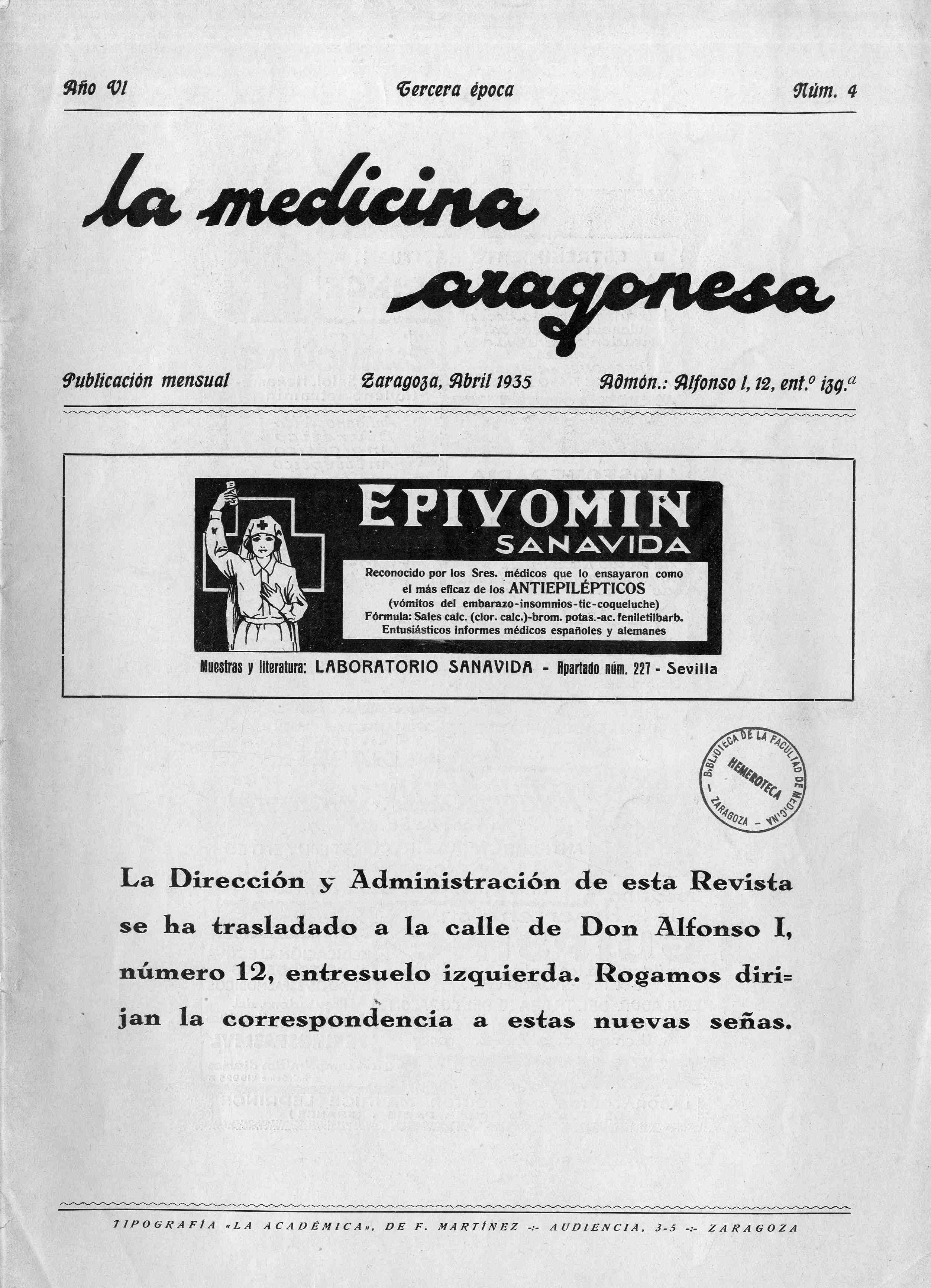 La medicina aragonesa, 3 ª ép., Año  6, n. 4, (1935)