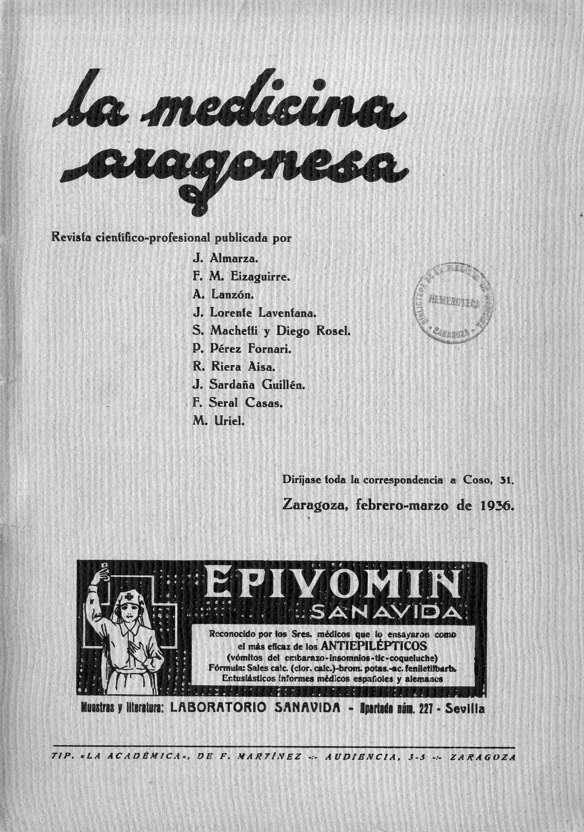 La medicina aragonesa, 4ª ép., Año 7, n. 2 , (1936)