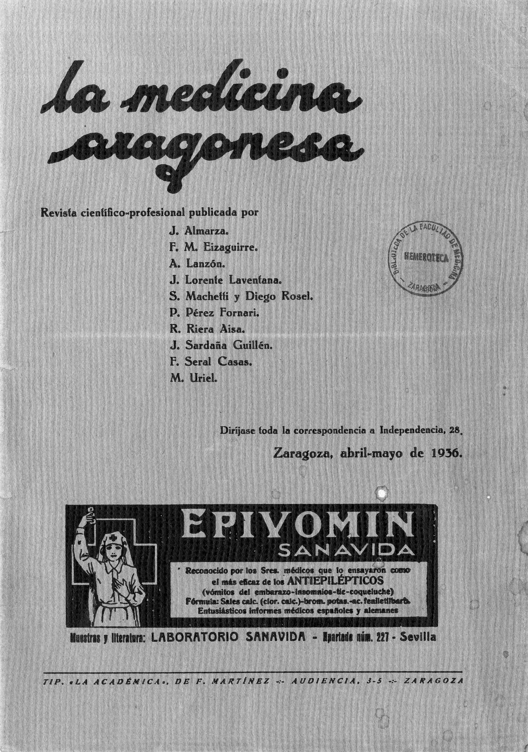 La medicina aragonesa, 4ª ép., Año 7, n. 3, (1936)