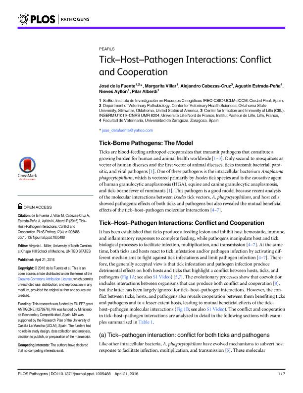 Tick–Host–Pathogen Interactions: Conflict and Cooperation