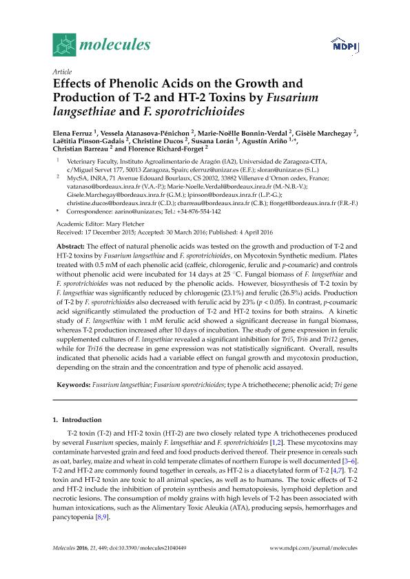 Effects of Phenolic Acids on the Growth and Production of T-2 and HT-2 Toxins by Fusarium langsethiae and F. sporotrichioides