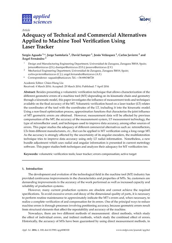 Adequacy of technical and commercial alternatives applied to machine tool verification using laser tracker