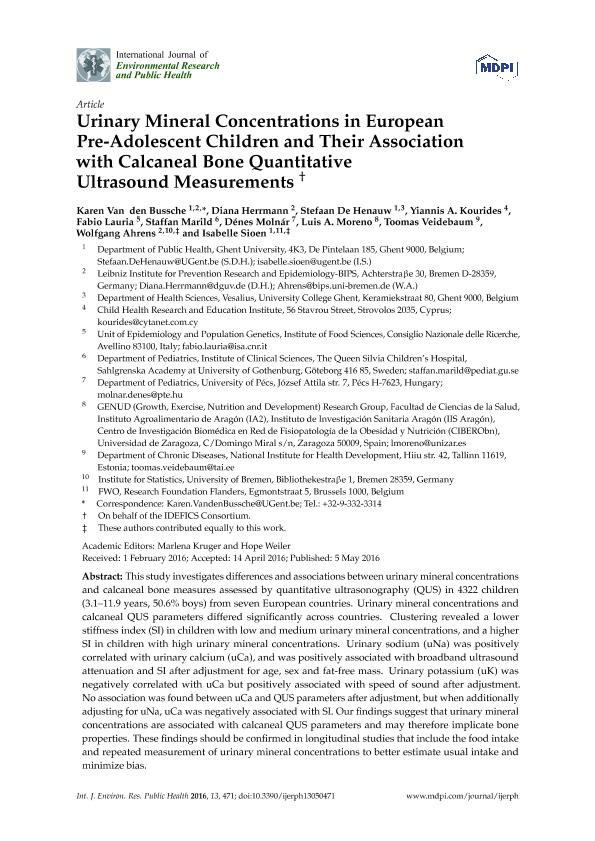 Urinary mineral concentrations in European pre-adolescent children and their association with calcaneal bone quantitative ultrasound measurements