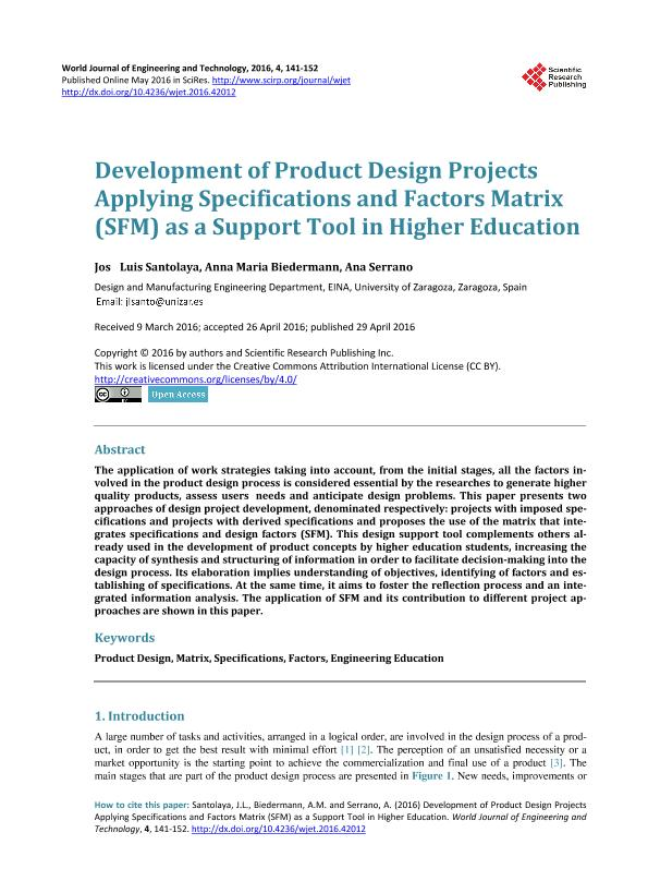 Development of product design projects applying specificaions and factors matrix (SFM) as a support tool in higher education