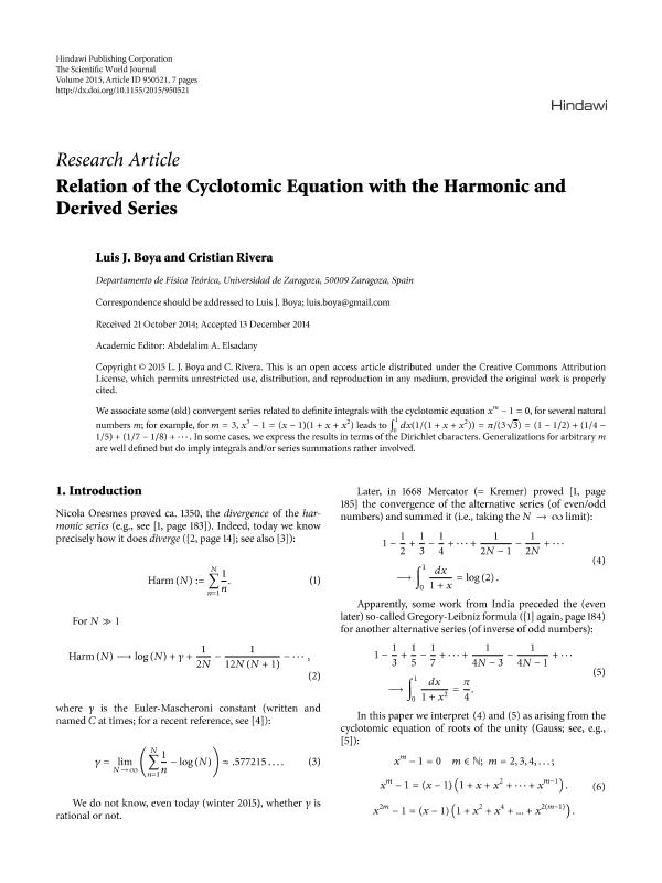 Relation of the cyclotomic equation with the harmonic and derived series