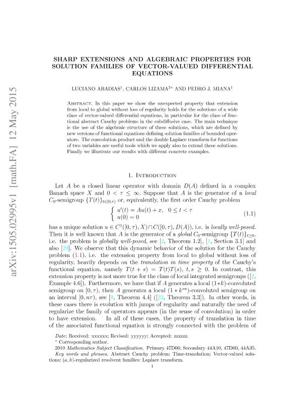 Sharp extensions and algebraic properties for solution families of vector-valued differential equations