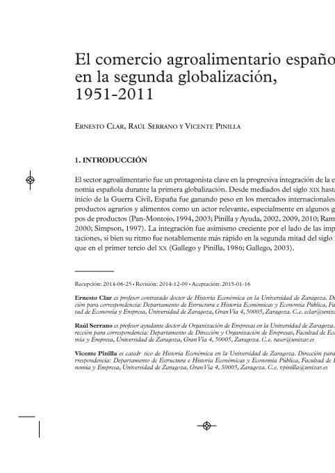 El comercio agroalimentario español en la segunda globalización, 1951-2011