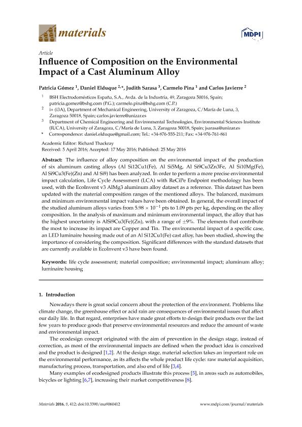 Influence of composition on the environmental impact of a cast aluminum alloy