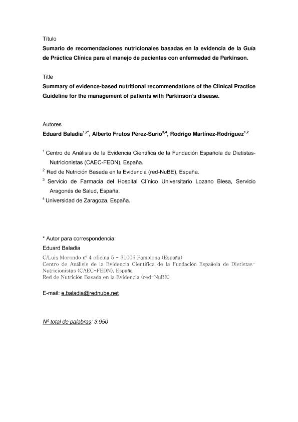 Sumario de recomendaciones nutricionales basadas en la evidencia de la Guía de Prácti ca Clínica para el manejo de pacientes con enfermedad de Parkinson