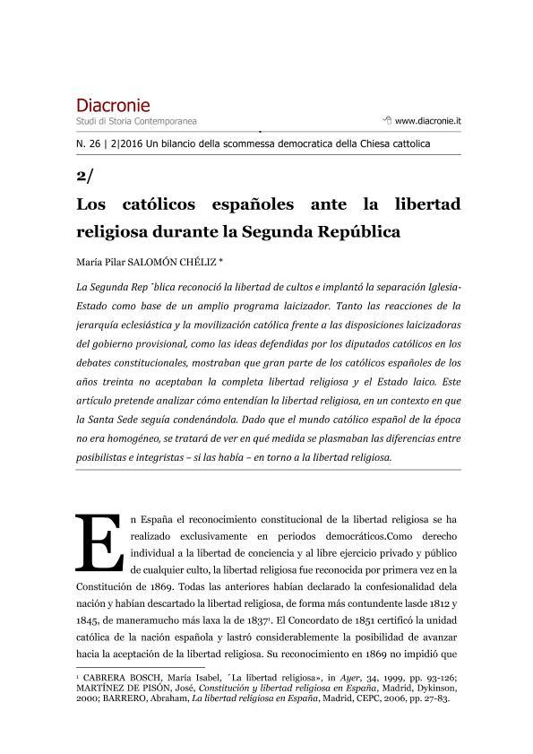 Los católicos españoles ante la libertad religiosa durante la Segunda República