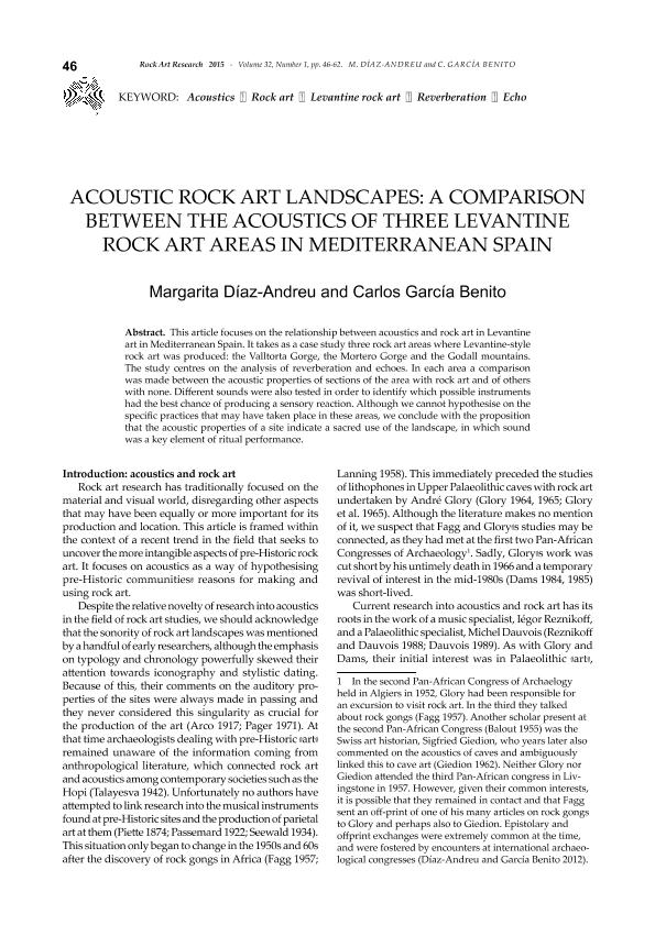Acoustic Rock Art Landscapes: A comparison between the Acoustics of three Levantine Rock Art areas in Mediterranean Spain