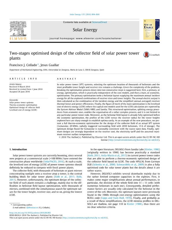Two-stages optimised design of the collector field of solar power tower plants
