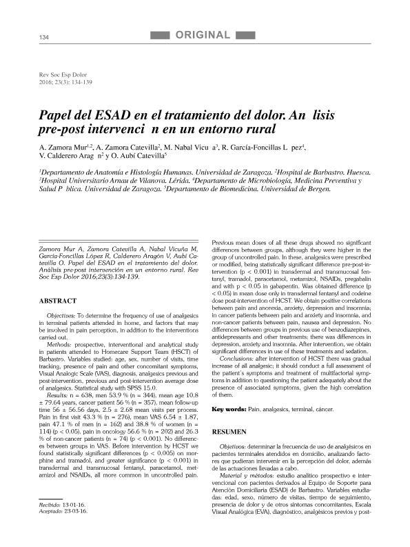 Papel del ESAD en el tratamiento del dolor. Análisis pre-post intervención en un entorno rural