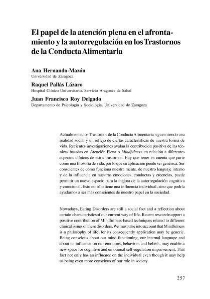 El papel de la atención plena en el afrontamiento y la autorregulación en los Trastornos de la Conducta Alimentaria.