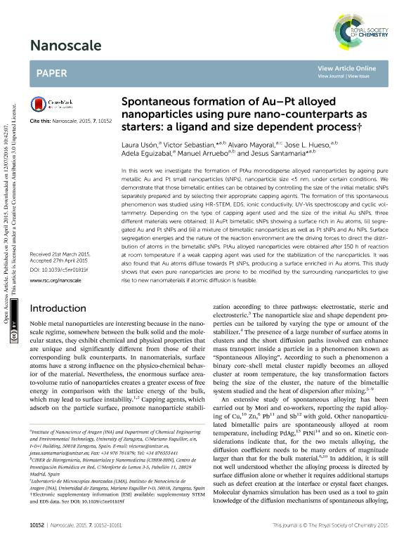 Spontaneous formation of Au-Pt alloyed nanoparticles using pure nano-counterparts as starters: a ligand and size dependent process