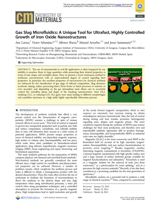 Gas Slug Microfluidics: A Unique Tool for Ultrafast, Highly Controlled Growth of Iron Oxide Nanostructures