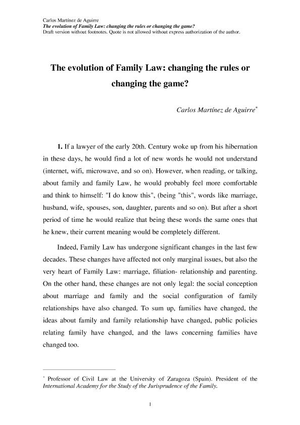 The Evolution of Family Law: Changing the Rules or Changing the Game?