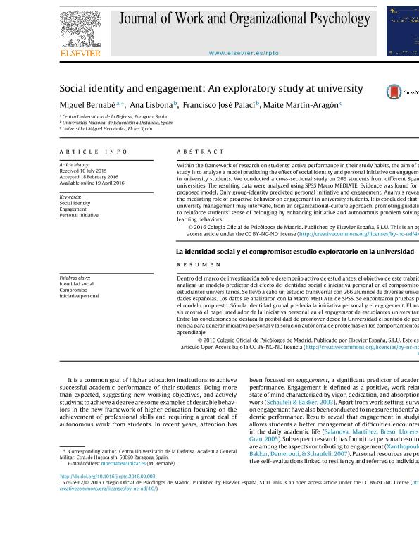 Social identity and engagement: An exploratory study at university