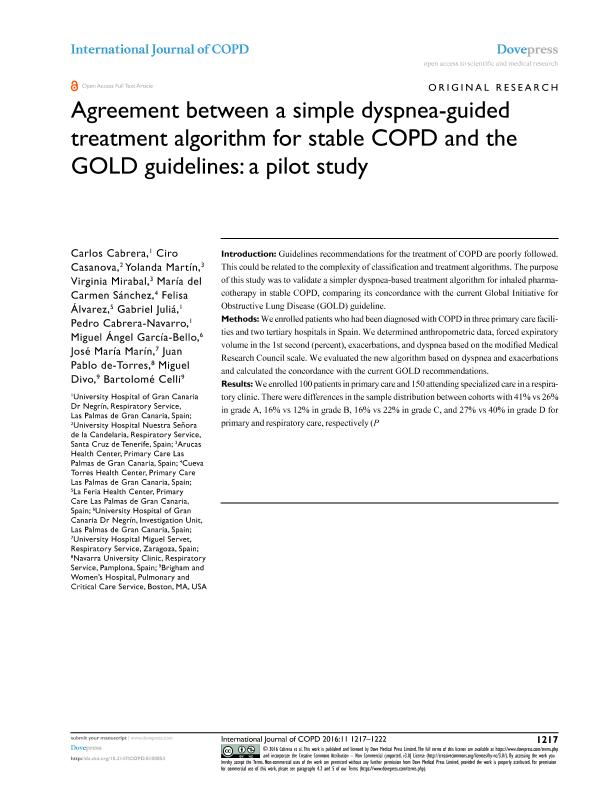 Agreement between a simple dyspnea-guided treatment algorithm for stable COPD and the GOLD guidelines: A pilot study