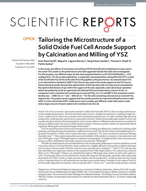 Tailoring the microstructure of a solid oxide fuel cell anode support by calcination and milling of YSZ