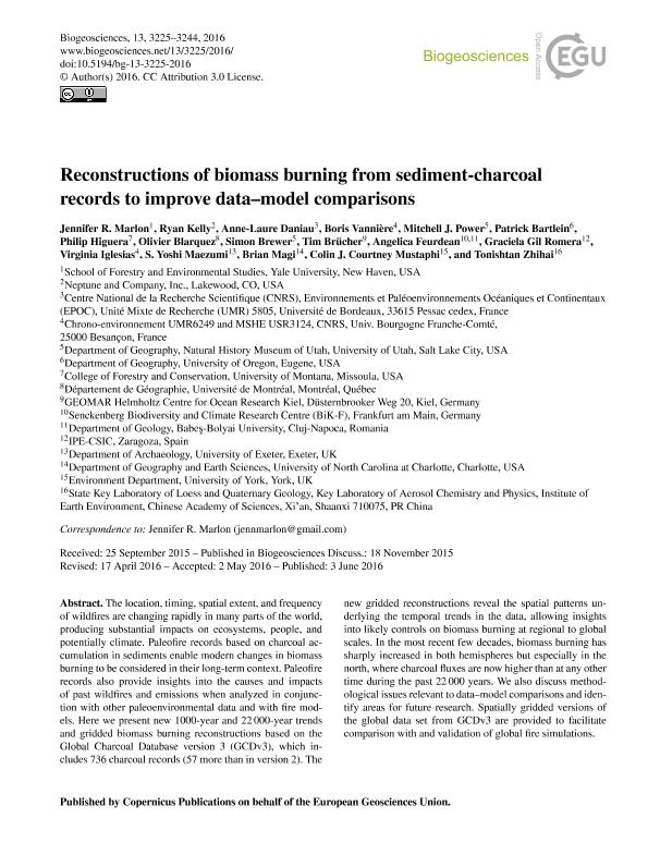 Reconstructions of biomass burning from sediment-charcoal records to improve data-model comparisons