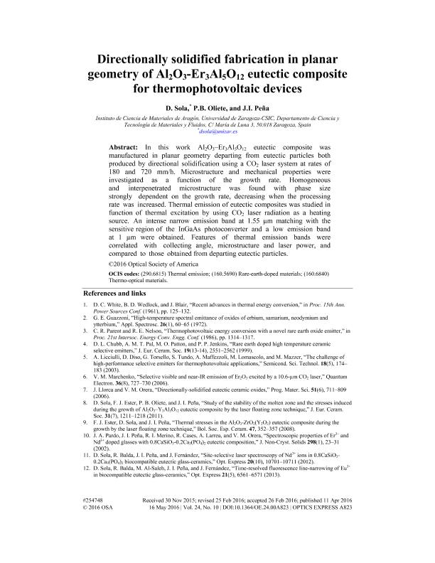 Directionally solidified fabrication in planar geometry of Al2O3-Er3Al5O12 eutectic composite for thermophotovoltaic devices