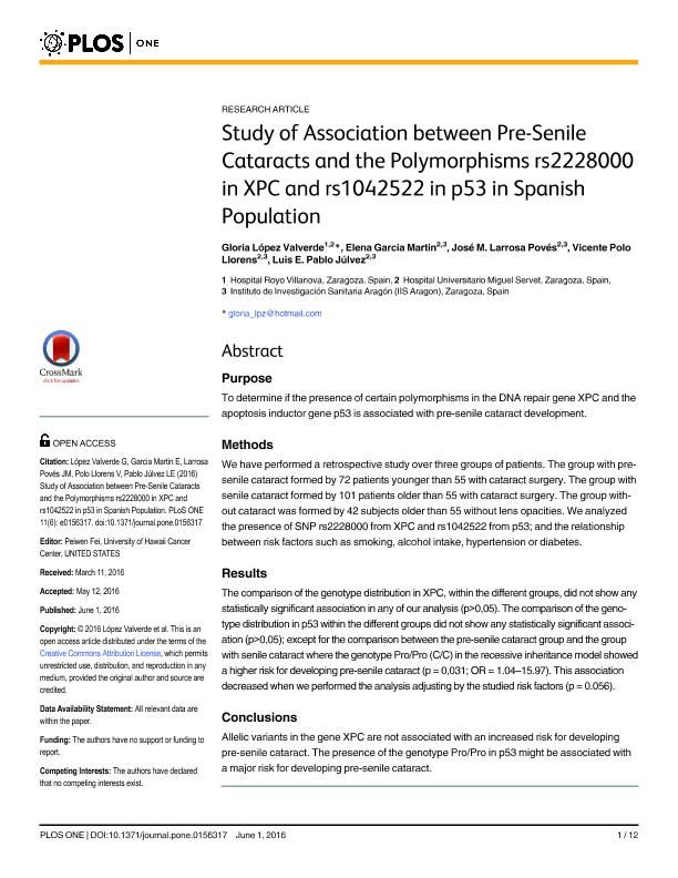 Study of association between Pre-Senile cataracts and the polymorphisms rs2228000 in XPC and rs1042522 in p53 in Spanish population