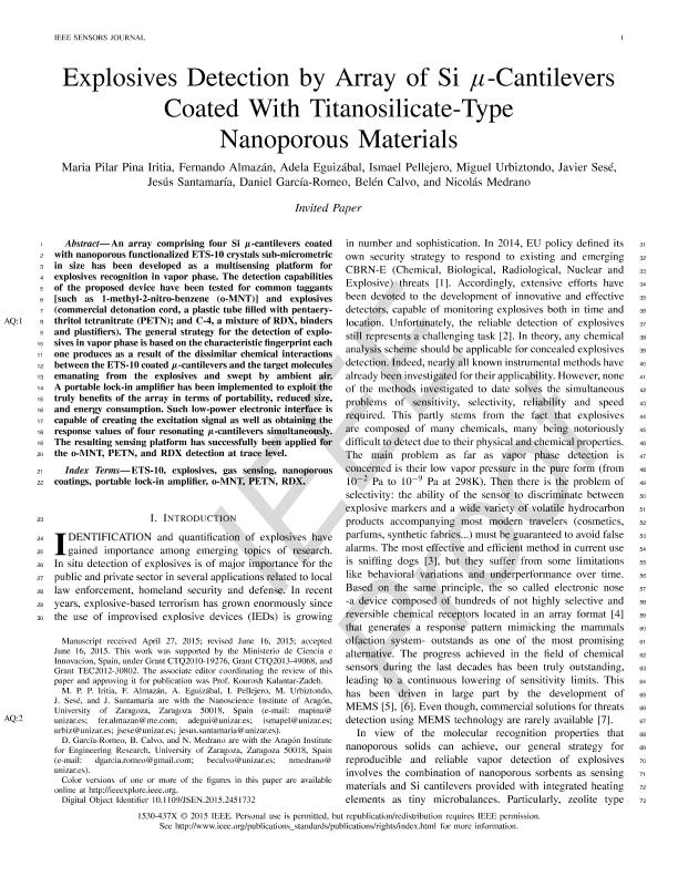 Explosives Detection by Array of Si µ -Cantilevers Coated with Titanosilicate-Type Nanoporous Materials
