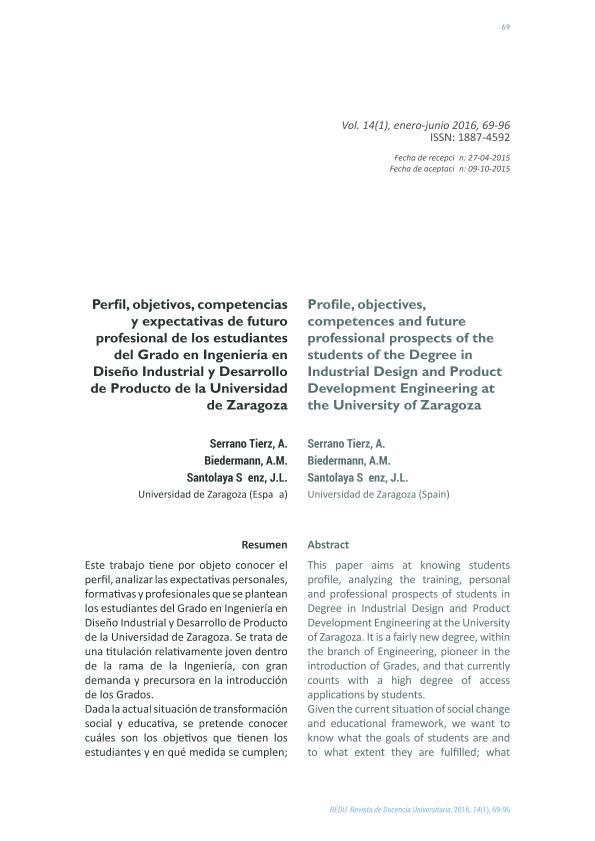 Perfil, objetivos, competencias y expectativas de futuro profesional de los estudiantes del Grado en Ingeniería en Diseño Industrial y Desarrollo de Producto de la Universidad de Zaragoza