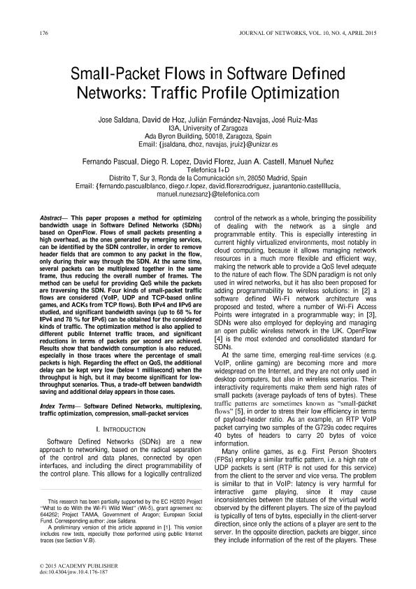 Small-Packet Flows in Software Defined Networks: Traffic Profile Optimization