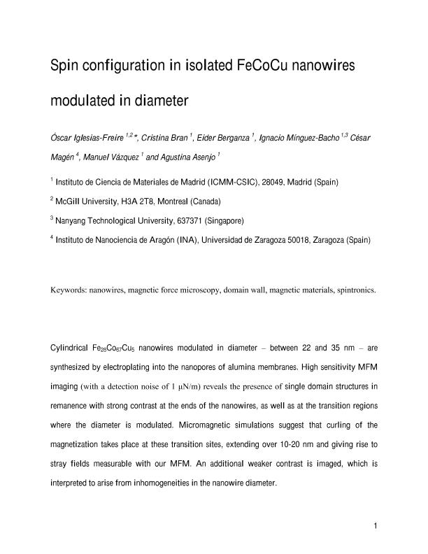 Spin configuration in isolated FeCoCu nanowires modulated in diameter