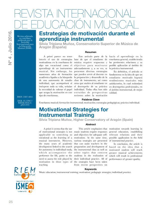 Estrategias de motivación durante el aprendizaje instrumental
