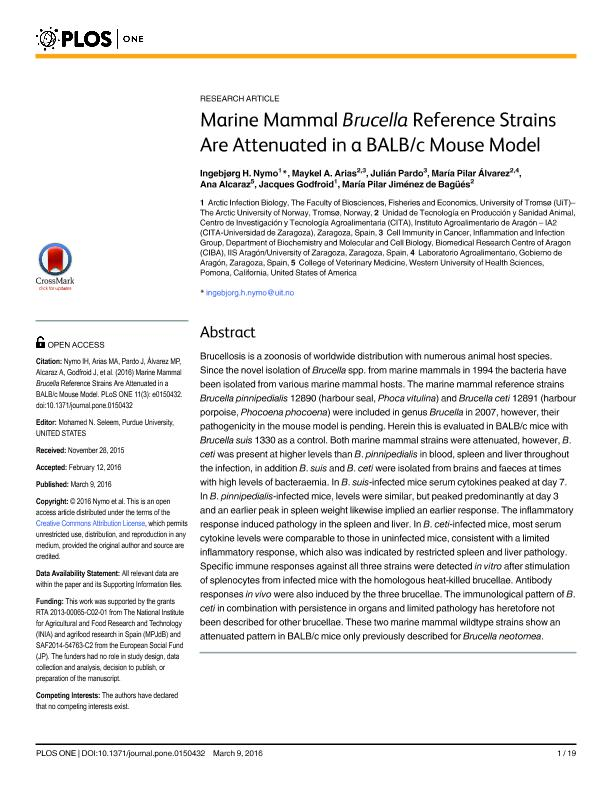 Marine Mammal Brucella Reference Strains are Attenuated in a BALB/c Mouse Model.